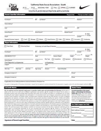 Cal South Player Registration Form