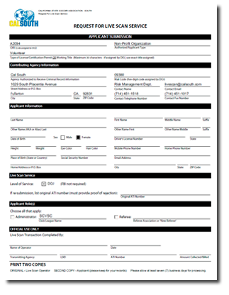 Live Scan Request Form